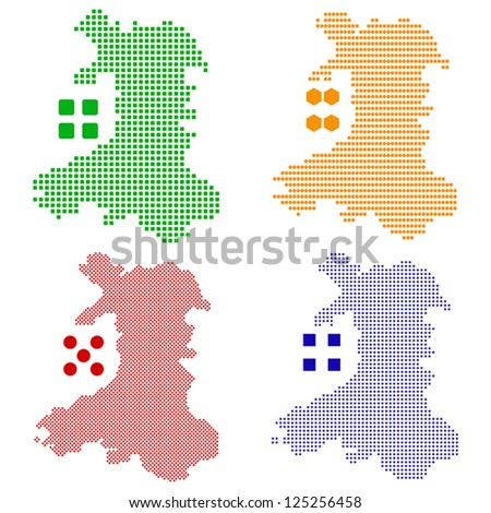 Vector illustration pixel map of Wales. - stock vector