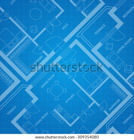 Vector illustration plan blue print. Architectural background