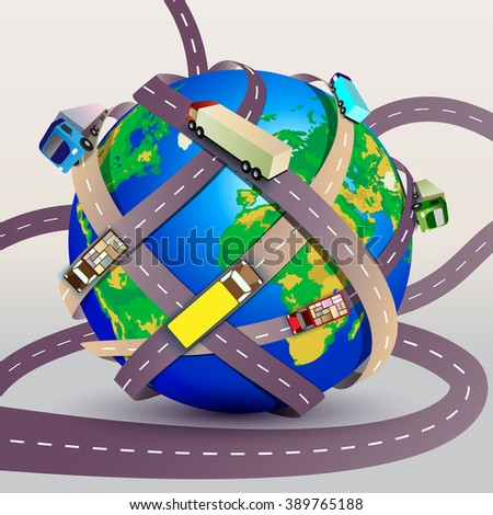Vector illustration. Planet Earth braided many roads with trucks - stock vector