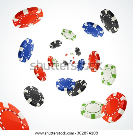 Vector illustration Pocker Chips Rain Winner Concept isolated on white. Gambling Chips for your designs - stock vector