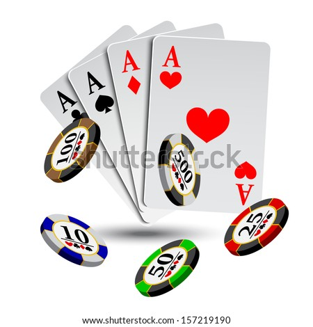 vector illustration poker gambling chips poster . poker collection with chips - stock vector