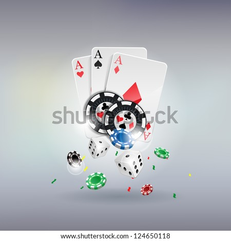 vector illustration poker gambling chips poster . poker collection with chips, dices, cards - stock vector