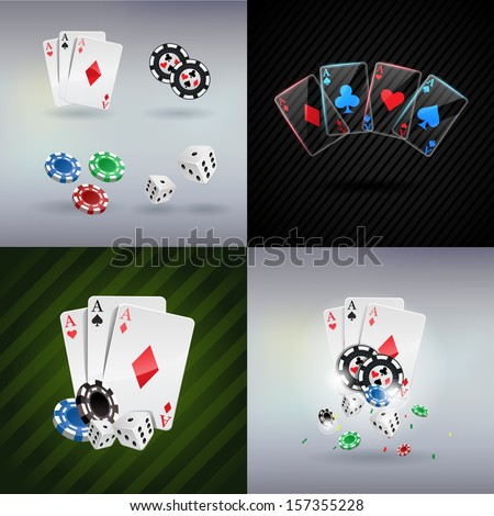 vector illustration poker gambling chips poster . poker collection with chips, dices, cards set posters - stock vector