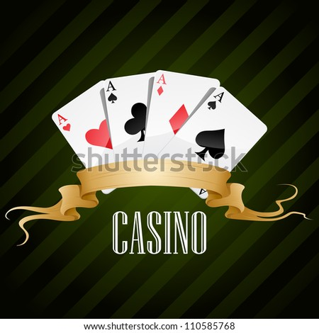 vector illustration poker poster casino - stock vector