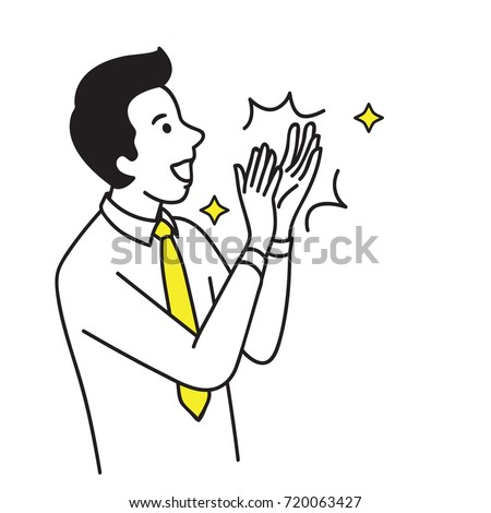 Vector illustration portrait character of businessman, happy, smiling, clapping hand to celebrating or congratulation. Outline, linear, thin line art, doodle, hand draw sketch design.