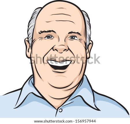 Vector illustration portrait of a smiling bald man. Easy-edit layered vector EPS10 file scalable to any size without quality loss. High resolution raster JPG file is included. - stock vector