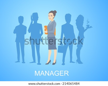 Vector illustration portrait of a woman manager keeps a folder with documents in hands stands in the center on blue background of silhouette business team of businesspeople - stock vector