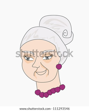 Vector illustration portrait of an old lady