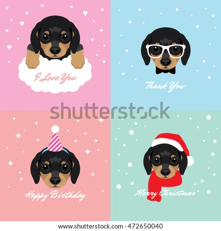 Vector Illustration Portrait of Dachshund Puppy. Dog Cards