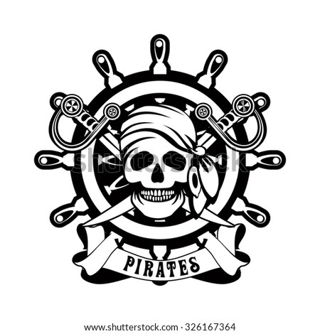 vector illustration poster with a human skull in a bandanna and earrings against a steering wheel in black and white - stock vector