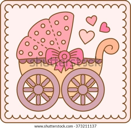vector illustration, pram pink for little girls
