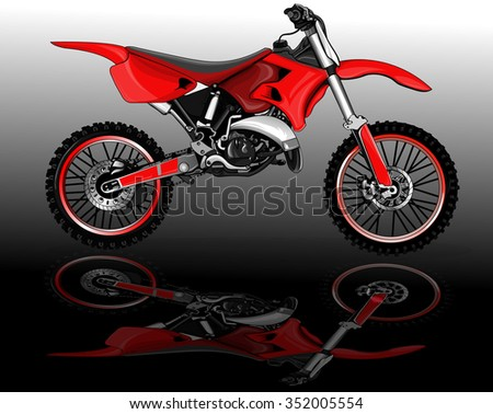 vector illustration, presentation of sports bike on the mirror surface