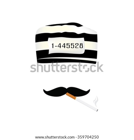 Vector illustration prisoner cap with number, mustache and burning cigarette. - stock vector