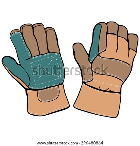Vector illustration, protection gloves, cartoon concept, white background.