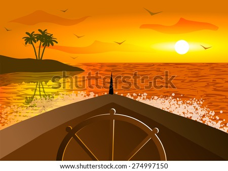 Vector Illustration. Prow of a ship in the ocean at sunset. - stock vector