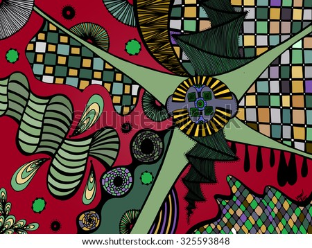 Vector illustration, psychedelic abstract landscape, card concept. - stock vector