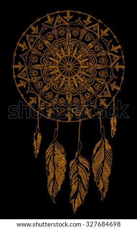 Vector illustration, psychedelic artline, golden collection, card concept. - stock vector