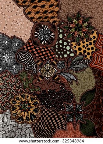 Vector illustration, psychedelic artwork in brown tones, card concept. - stock vector
