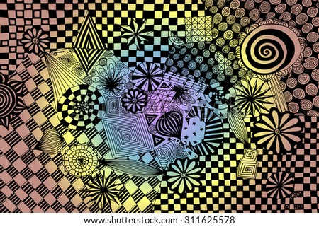 Vector illustration, psychedelic order in pale colours, card concept. - stock vector