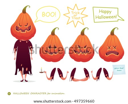 Vector illustration. Pumpkin emotion faces. Emoji face icons, symbols. Happy Halloween. Character for scenes. Parts of body template for design and animation.Trick or Treat