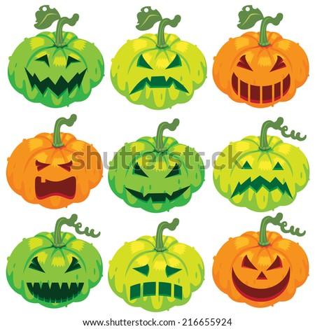 vector illustration pumpkins set for Halloween  - stock vector