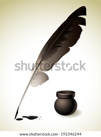 Vector illustration - Quill Pen with inkwell - stock vector
