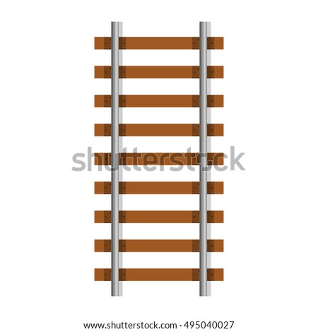 Vector illustration railway railroad track isolated on white background. Railroad element icon.