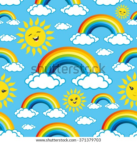 Vector illustration. Rainbows pattern for seamless background.