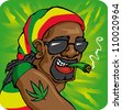 Vector illustration rastafarian with cap smoke - stock