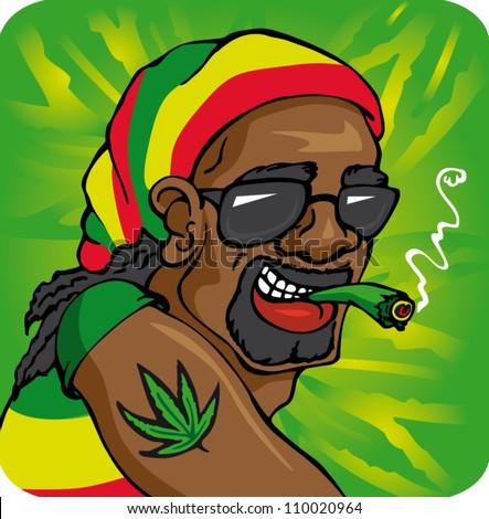 Cartoon Characters Smoking Weed Wallpaper Cap smoke - stock vector
