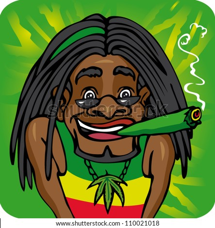 Rasta Lion With Dreads Illustration rastafarian
