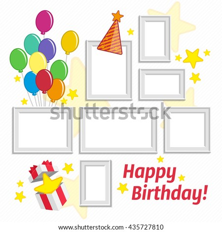 Vector illustration realistic design photo frames on white background. Decorative template for baby, family or memories. Scrapbook concept. Concept of birthday greetings.  - stock vector