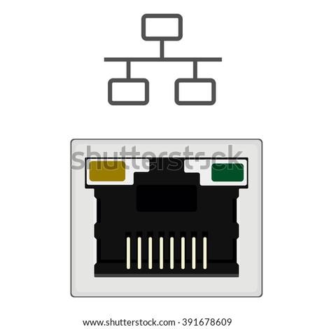 Vector Illustration Realistic Network Ethernet Port Stock Vector