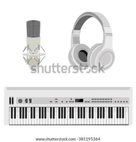 Vector illustration realistic white headphones, synthesizer and vintage microphone. Retro microphone isolated on white. Microphone and stereo headphones icon - stock vector