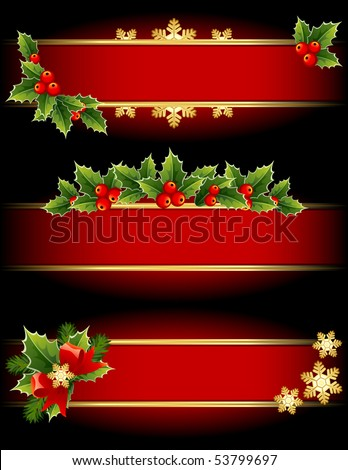 Vector illustration - red and gold  christmas banners - stock vector