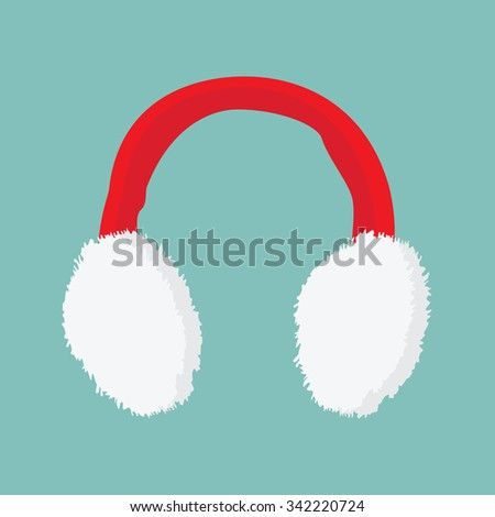 Vector illustration red and white ear muffs icon on blue background  - stock vector