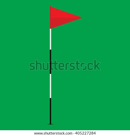 Vector illustration red golf flag isolated on green background. Game golf equipment. Golf flag icon flat design - stock vector