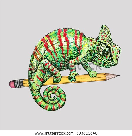 Vector illustration: red green chameleon on yellow pencil  - stock vector