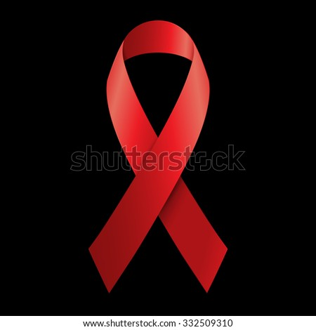 Vector illustration red ribbon - AIDS, HIV, heart disease, stroke awareness sign