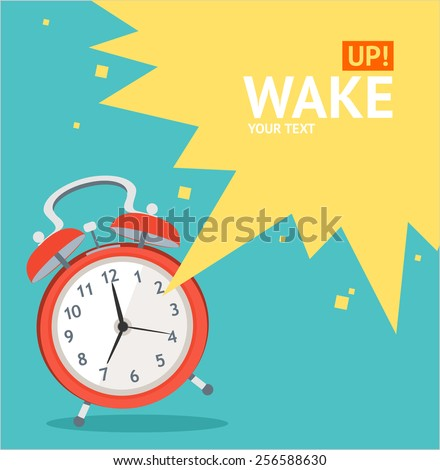 Vector illustration red wakeup clock card, place for your text. Flat Design - stock vector