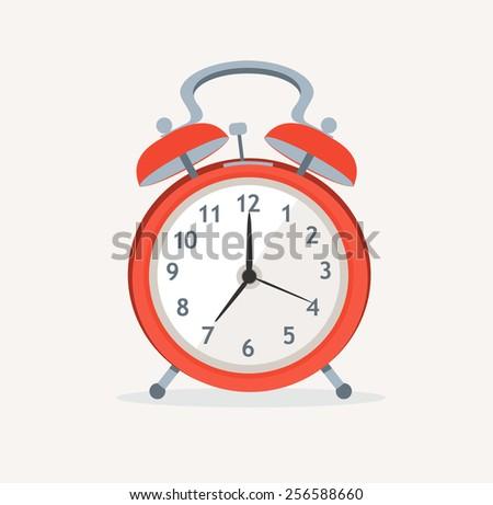 Vector illustration red wakeup clock ringing at early morning. Flat Design - stock vector