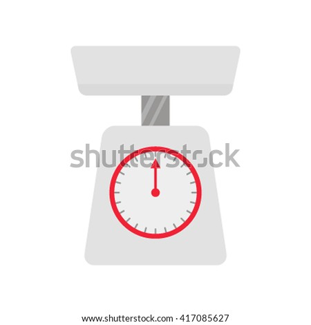 Vector illustration red weight scale flat vector illustration isolated on white background