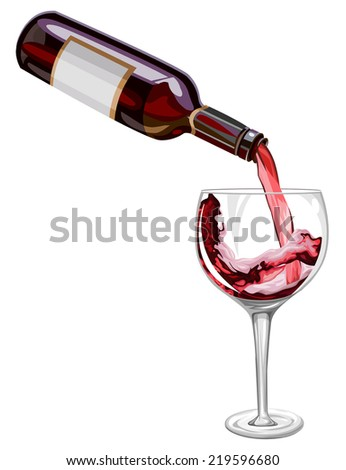 Vector illustration red wine being poured in glass. - stock vector