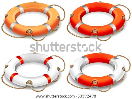 Vector illustration - rescue life belt icons - stock vector