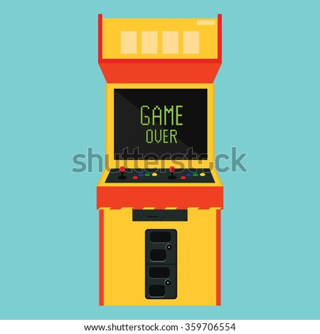 Vector illustration retro arcade with pixel game over message. - stock vector