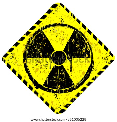 Vector illustration rhombic yellow grunge sign radiation