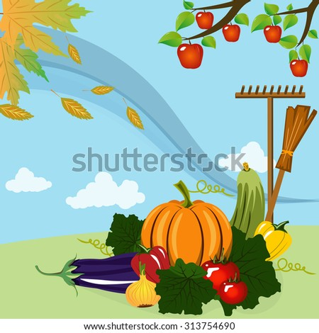Vector illustration. Rich harvest of vegetables and fruits