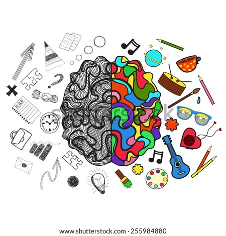 Vector illustration. Right and left  hemispheres of brain. Analytical and creative parts of them - stock vector