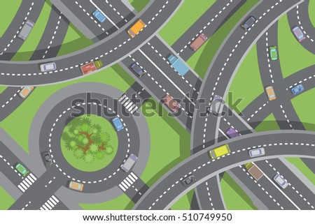 Vector illustration. Roads and transport. (Top view) Crossroads with flyovers. (View from above)