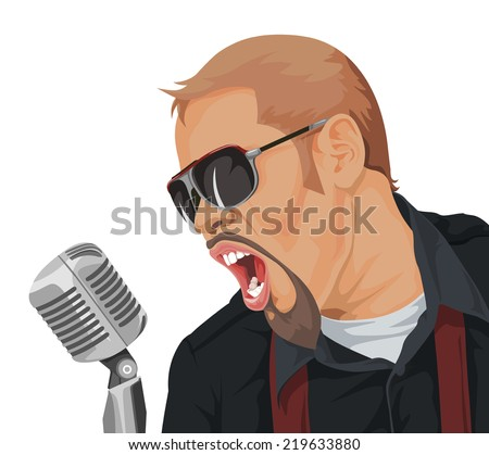 Vector illustration rock song singer in action. - stock vector